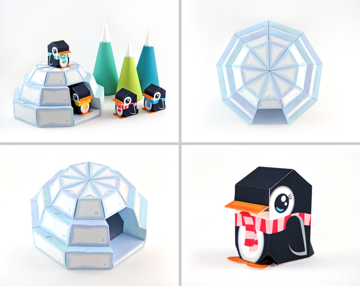 picture regarding Printable Paper Crafts known as Igloo Arrival Calendar - Printable Paper Craft PDF